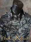 NWT! Mens ROAR Long Sleeve shirt MAJER in Black with Paisey's! W52049