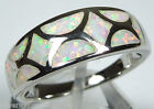 White Fire Opal Inlay Solid 925 Sterling Silver Band Ring size 6 or 7
