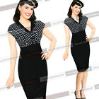 Women Vintage Lapel Summer Party Cocktail Evening Wear to Work Bodycon Dress 410