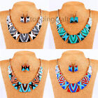 Womens Fashion Show Rectangle Necklace Earring Set Noble temperament Jewelry Set