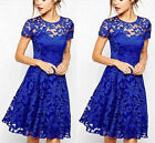 2015 Women Floral Lace Short Sleeve Cocktail Evening Party Casual Mini Dress