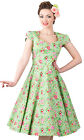 Lady V London Apple Green Floral Victory Swing Dress Pinup 50s Retro Vintage New