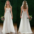 Hot Sexy Backless Women V Neck Long Lace PrincessParty Bridal Ball Weeding Dress