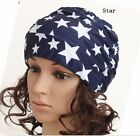 Women Ladies Pleated Swimming Hat Bathing Cap Turban Star/Flower Print 9-colored