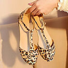 Sexy Women Lady Leopard T-Strappy Sandals Summer Flat Heel Shoes Loafers Slipper
