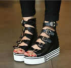 Punk Buckle Straps Womens Platfrom High Top Hollow Out Peep Toe Roma Sneakers