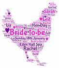 PERSONALISED Hen Night Party WORDART PRINT Bride to be GIFT Keepsake Wedding A4