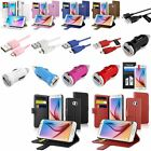 Wallet Flip Leather Case+3ft USB Cable+Mini Car Charger+SP For Samsung Galaxy S6