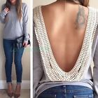 Nice Women's Sexy Backless Long Sleeve Shirt Casual Blouse Tops Shirt Clothing