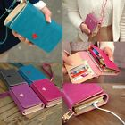New Candy Color Handy Women PU Leather Purse Girl Long Handbag Wallet Phone Case