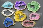 Natural Druzy Quartz Agate Geode Bracelet Connector Charm Pendant Beads 18K Gold
