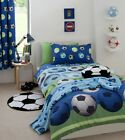 """Kids Football Blue Fully Lined Curtains, Pencil Pleat Bedroom Curtains 66"""" x 72"""""""