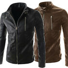 Stylish Mens Pu Leather Jackets Designer Coat Slim Fit Cool Motorcycle Overcoats