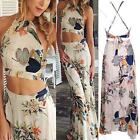 2015 Women Boho Two Piece floral Summer Dress Set Sexy Backless Top + Long skirt