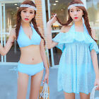 3pcs Halter Bikini Top Swim Bottom Off The Shoulder Flounce Beach Cover Up Dress