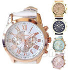 CHIC FASHION WOMEN GENEVA ROMAN NUMERALS FAUX LEATHER ANALOG QUARTZ WRIST WATCH