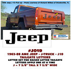 J019 1963-88 JEEP J10 PICKUP TRUCK - TAILGATE LETTERS DECAL STICKER - LICENSED