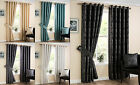 NEW Eyelet Ring Top Pair Modern Fully Lined Curtains With Metallic Print Design