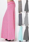 MAXI SKIRT NEW Long Stripe  Stretch Fold Over Waist RAYON  S/M/L Free Ship