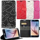 Diamond Flip Leather Card Wallet Cover Case w/STAND For Samsung Galaxy S6 G9200