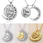 Family I LOVE YOU TO THE MOON AND BACK Moon Pendant Necklace Charm Personal Gift