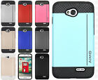 For LG Optimus L70 Hard Impact NEST HYBRID CARD Kickstand Rubber Case Cover