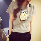 Women Girls Owl Embroidered T-Shirt Casual Crew Neck Short Sleeve Tops Blouse