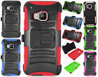For HTC One M9 Combo Holster HYBRID KICK STAND Hard Rubber Case + Screen Guard