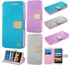 For HTC One M9 Premium Diamante Glitter Leather Wallet Flip Phone Case Accessory