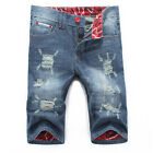 Summer New Mens Casual Jeans Shorts Slim Fit Scratched Cotton Ripped Jean Shorts
