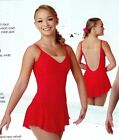 NEW DANCE Skate dress Camisole Lace Overlay double layer skirt Red Fushia Ch/Lad