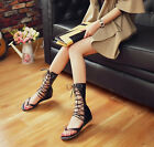 Womens Low Heel Cross Strap Goth Thong Lace Up Flip Flops Gladiator Roma Sandals
