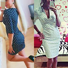 2015New Fashion Women's V-neck Cute Dot Pencil Dress Half Sleeve Casual OL Dress
