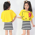 Summer Cute 2PC Kids Girls Cape shawl + Stripe Sleeveless vest Dress 3-9Y
