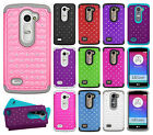 For LG Leon C40 HYBRID IMPACT Hard Dazzling Diamond Case Cover +Screen Protector