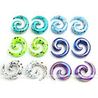 12x 2-12MM Mix Color Acrylic Snail Spiral Taper Ear Plug Tunnel Expander Earring