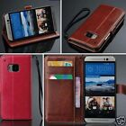 For HTC One M9  PU Leather Card Holder Wallet Flip Cover Stand Case + Strip