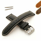 Mens Leather Watch Strap - Padded with White Stitching - Buckle and Spring Bars