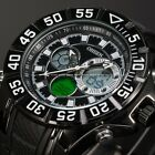 OHSEN Dual Time Digital LCD Date Day Alarm Mens 50MM Dial Rubber Sport Watch