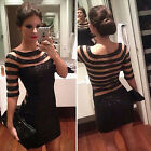 Women's Fashion Sexy Summer Dress Black Celeb Evening Cocktail Party Mini Dress