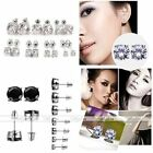 Punk Unisex White Gold Plated Round Cubic Zirconia CZ Crystal Earring Ear Studs