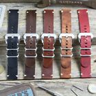 ZULUDIVER Genuine Leather Watch Strap 2 Piece ZULU Black Brown 20mm 22mm