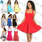 Womens Ladies Halter Neck Backless Pleated Party Mini Skater Dress 8-26