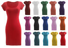 C77-LADIES CAP SLEEVE SCOOP NECK BODYCON SHORT MINI DRESS TOP-UK SIZE 8-22