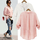 2015 Stylish UK Women Down Collar Loose Shirt Blouse Baggy Boyfriend Style V Top