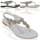 WOMENS SLINGBACK FLAT DIAMANTE LADIES SPARKLY SUMMER HOLIDAYS SANDALS SHOES 3-9