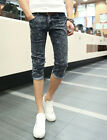 New Mens Slim Fit Jeans Cropped Skinny Pencil Trousers Washed Denim Pants Shorts