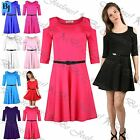 Women Ladies 3/4 Sleeve Cut Shoulder Flared Swing Mini Skater Dress Plus Size