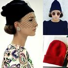 Womens Retro Net Veil Knitted Hats Cocktail Wedding  Party Black/Red/Blue Cap