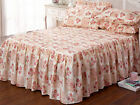 Vintage Style Frilled Quilted Bedspread Set with Pillowshams, Patchwork PINK